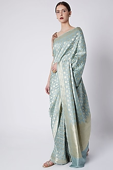 Spearmint Green Embroidered Saree by Kshitij Jalori