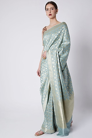 Spearmint Green Embroidered Saree by Kshitij Jalori