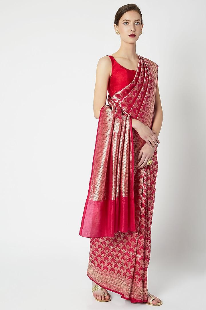 Fuchsia Red Embroidered Saree by Kshitij Jalori