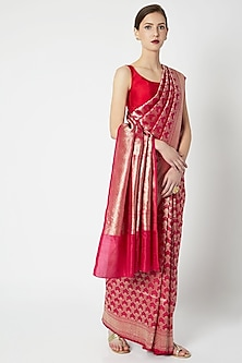 Fuchsia Red Embroidered Saree by Kshitij Jalori