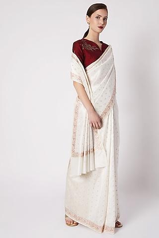 White Embroidered Silk Saree by Kshitij Jalori