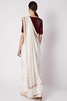 White Embroidered Silk Saree by Kshitij Jalori