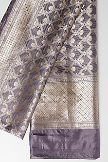 Charcoal Grey Embroidered Dupatta by Kshitij Jalori