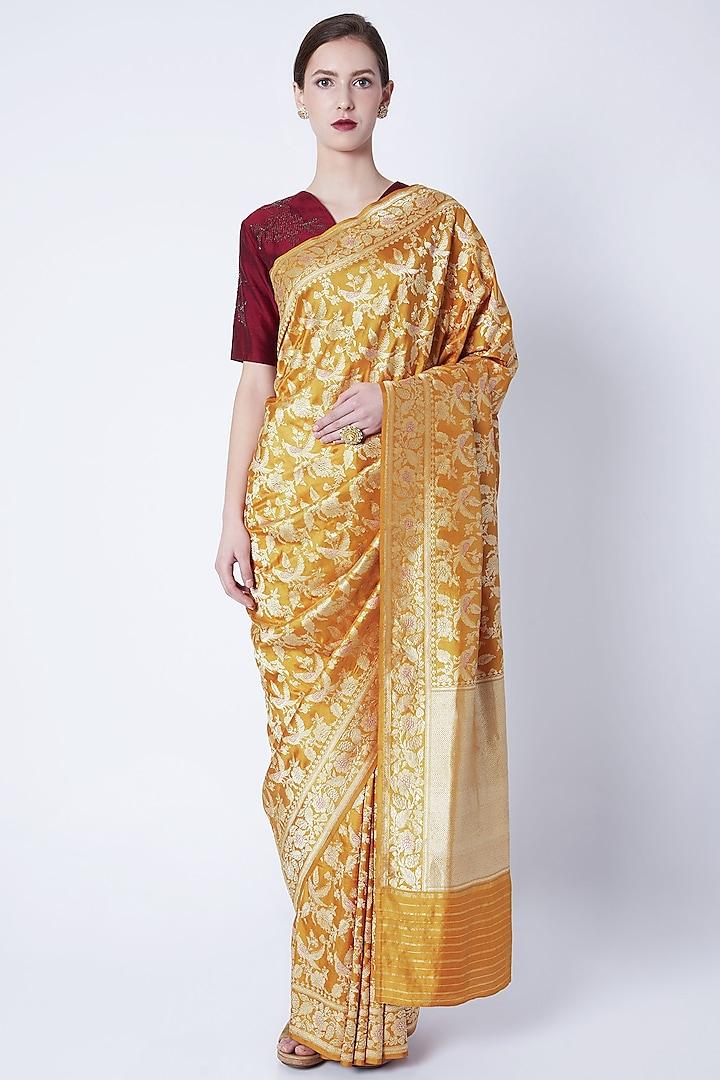 Mustard Yellow Embroidered Saree by Kshitij Jalori