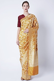 Mustard Yellow Embroidered Saree by Kshitij Jalori