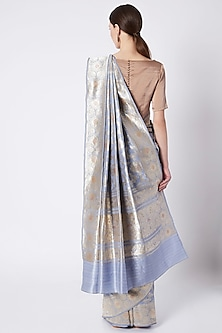 Pale Blue Embroidered Saree by Kshitij Jalori