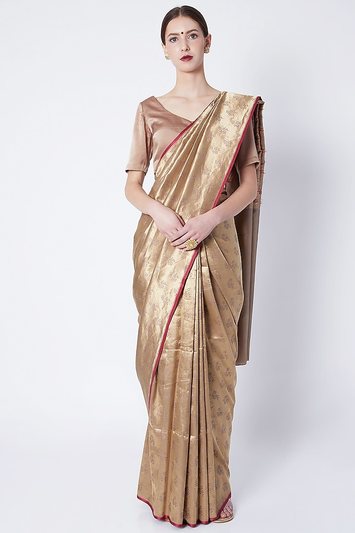 Earth Grey Embroidered Saree by Kshitij Jalori