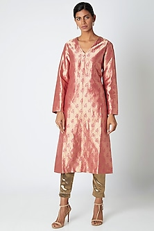 Old Rose Pink Silk Kurta by Kshitij Jalori
