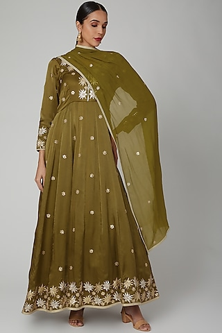 Mehendi Green Embroidered Anarkali Set by RANA'S by Kshitija
