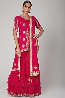 Magenta Pink Embroidered Sharara Set by RANA'S by Kshitija