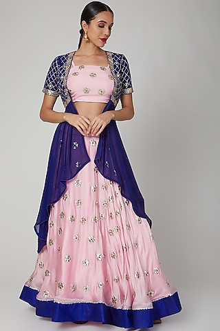 Pink & Blue Embroidered Jacket Lehenga Set by RANA'S by Kshitija