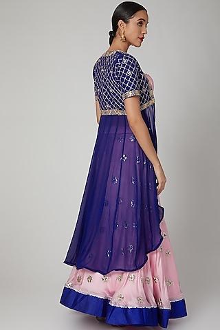 Pink & Blue Embroidered Jacket Lehenga Set by RANA'S by Kshitija