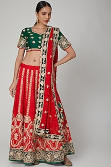 Red & Green Hand Embroidered Lehenga Set by RANA'S by Kshitija