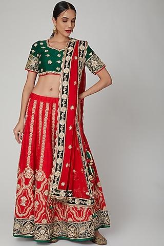 Red & Green Hand Embroidered Lehenga Set by RANA'S by Kshitija