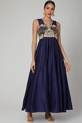 Deep Blue Embroidered Gown by RANA'S by Kshitija
