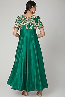 Emerald Green Embroidered Gown by RANA'S by Kshitija