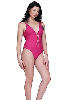Fuchsia Seamless Swimsuit With Hand Woven Knots by SALT SKIN