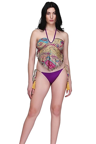 Purple Printed Tankini Set by SALT SKIN
