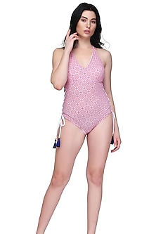 Pink & White Printed Swimsuit by SALT SKIN