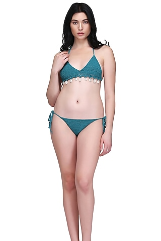 Emerald Green Handmade Crochet Shell Bikini Set by SALT SKIN