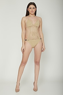 Nude Crochet Monokini With Tie-Up by SALT SKIN