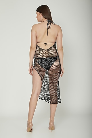 Black Metallic Crochet Cover-Up by SALT SKIN