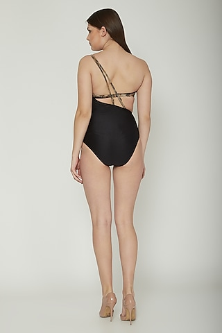 Black Printed One-Piece Swimsuit by SALT SKIN