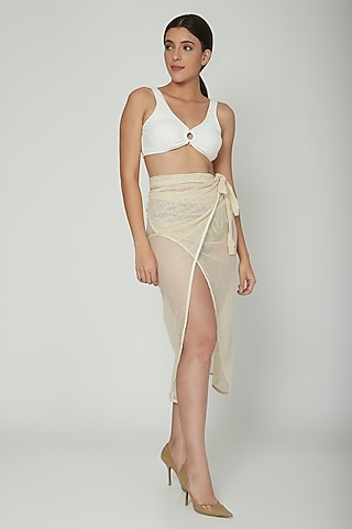 Nude Crochet Wrap Cover-Up Skirt by SALT SKIN