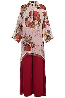 White printed rose cape kurta with pants by Kehiaa by Kashmiraa