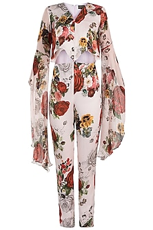 White printed rose dramatic sleeves jumpsuit by Kehiaa by Kashmiraa