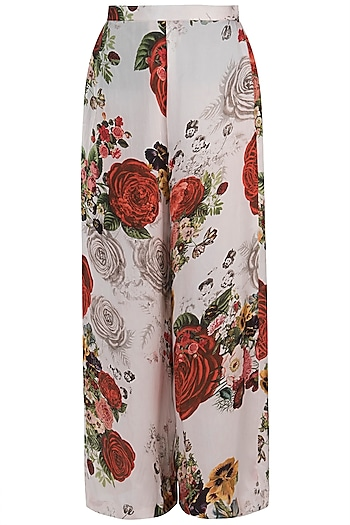 White printed rose pants by Kehiaa by Kashmiraa