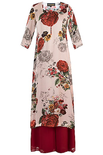 White printed rose kurta with red pants by Kehiaa by Kashmiraa