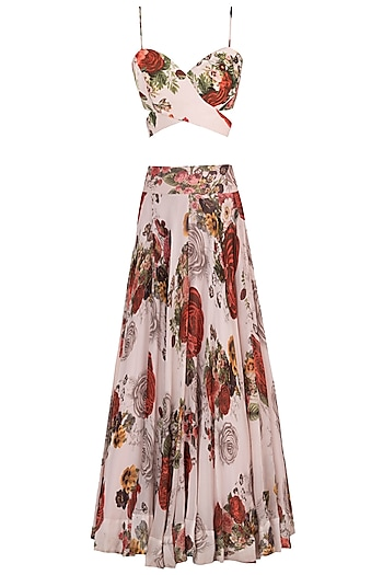 White printed rose crop top with maxi skirt by Kehiaa by Kashmiraa