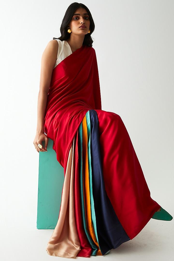 Multi Colored Striped Saree by Kshitij Jalori