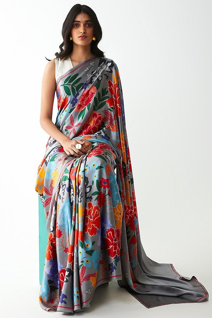 Grey Digital Printed Saree Set by Kshitij Jalori