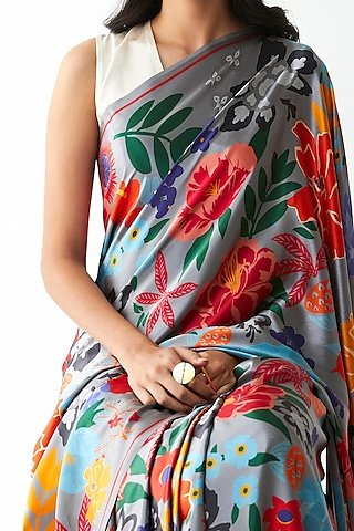 Grey Floral Printed Saree by Kshitij Jalori