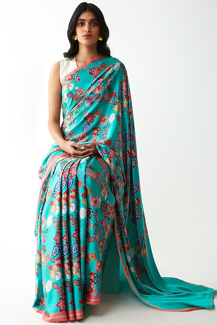 Mint Blue Floral Printed Saree by Kshitij Jalori