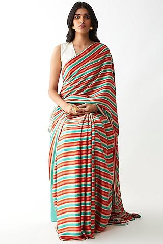 Multi Colored Stripes Printed Saree by Kshitij Jalori