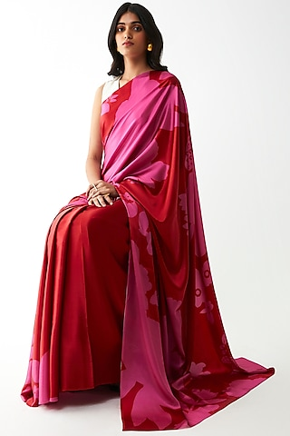 Red Floral Digital Printed Saree by Kshitij Jalori
