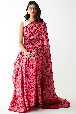 Pink Floral Printed Saree by Kshitij Jalori