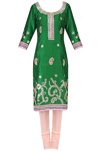 Emerald Green Gota Embroidered Kurta and Churidar Pants Set by RANA'S by Kshitija