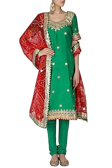 Green Gota Patti Embroidered Kurta and Churidar Pants Set by RANA'S by Kshitija