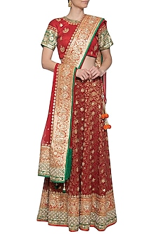 Red embroidered lehenga set by RANA'S by Kshitija