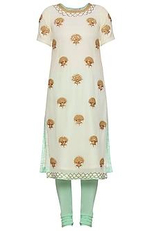 Mint yellow embroidered kurta set by RANA'S by Kshitija