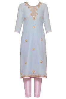 Powder blue embroidered kurta set by RANA'S by Kshitija