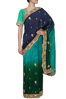 Blue embroidered ombre saree set by RANA'S by Kshitija