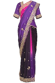 Purple embroidered saree set by RANA'S by Kshitija