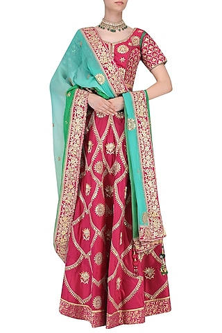 Deep Pink Gota and Resham Embroidered Lehenga with Ombre Dupatta Set by RANA'S by Kshitija