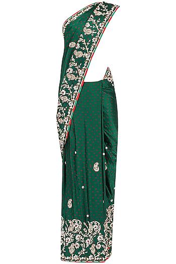 Green Zardozi Jaal Embroidered Saree by RANA'S by Kshitija