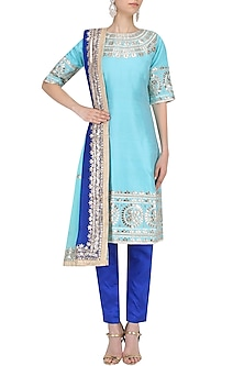 Light Blue Gota Embroidered Kurta with Pants and Ombre Dupatta Set by RANA'S by Kshitija
